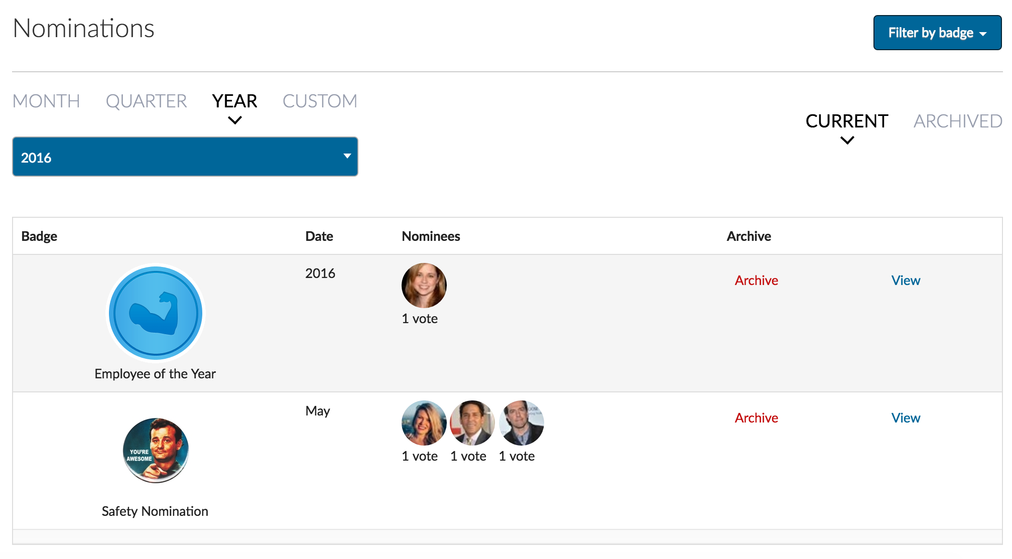 Viewing nominations in Admin Dashboard