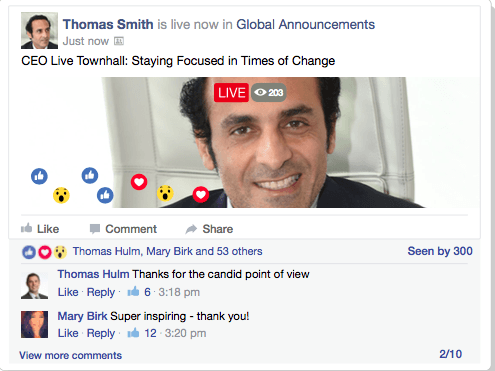 CEO doing a live video stream in Facebook Workplace