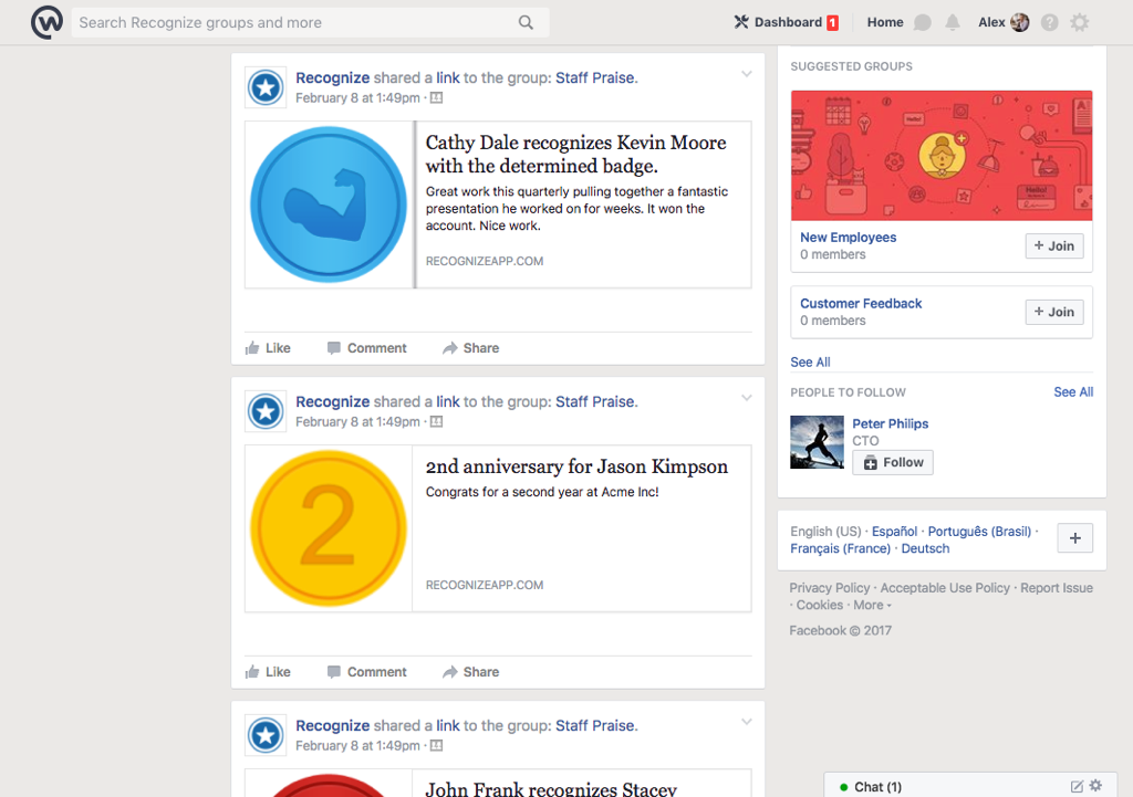 Facebook Workplace Recognize integration